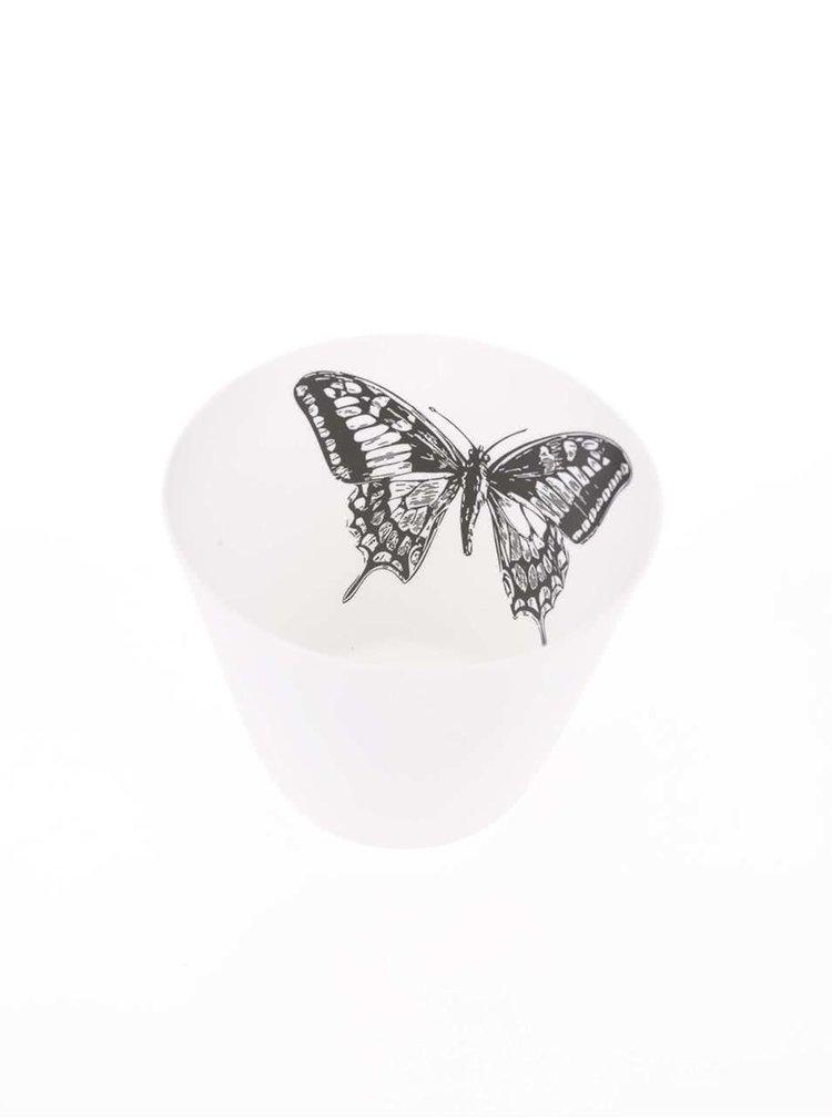 Bílý kalíšek na svíčku Sass & Belle Butterfly