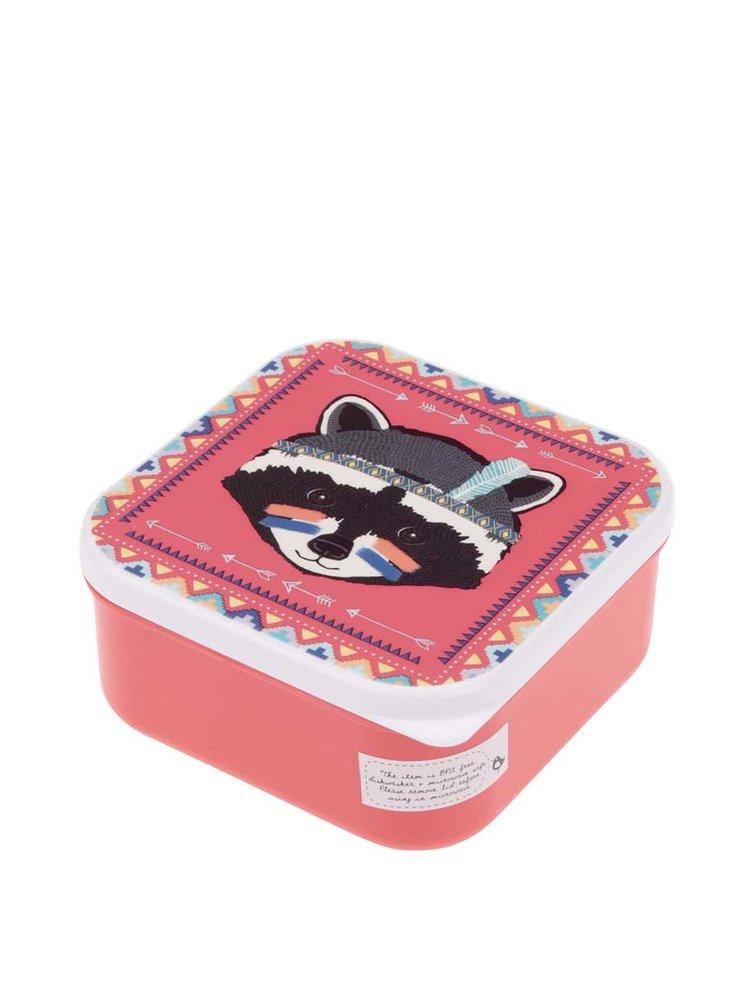 Červený svačinový box s mývalem Sass & Belle Raccoon