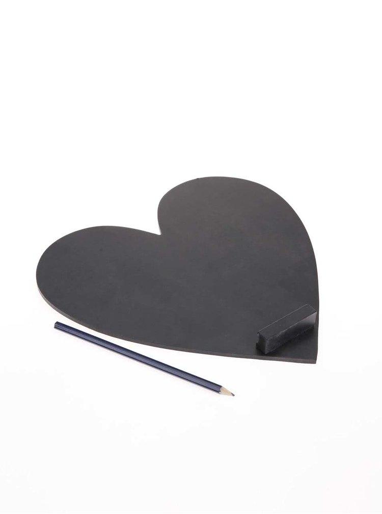 Černá tabule ve tvaru srdce Sass & Belle
