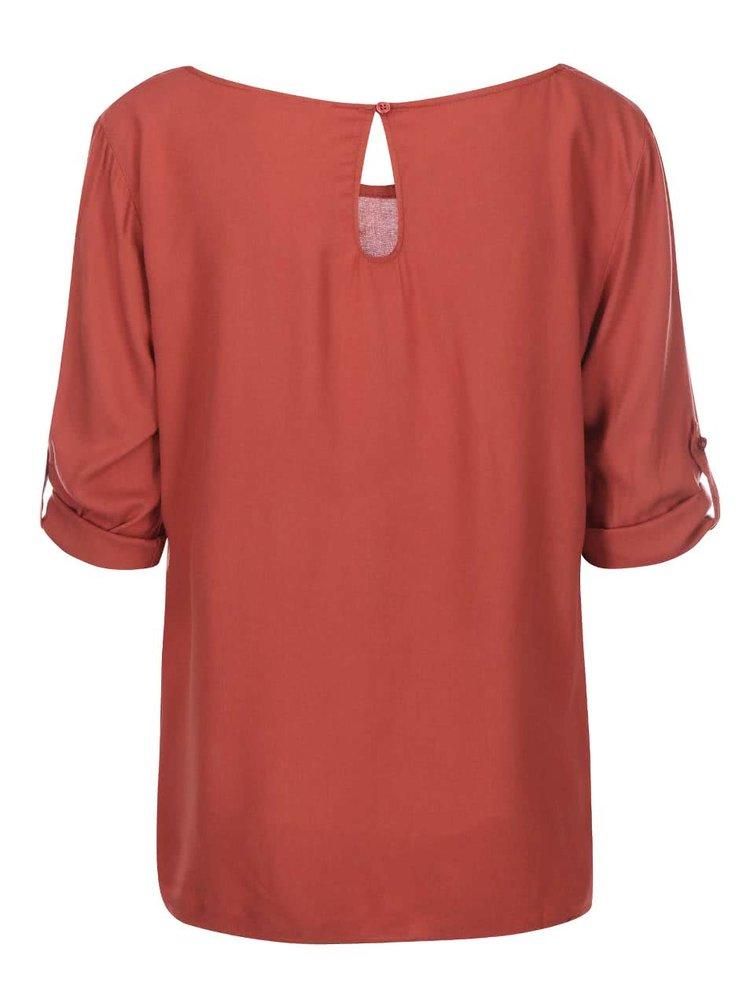 Cihlové volnější tričko s 3/4 rukávem ONLY Geggo