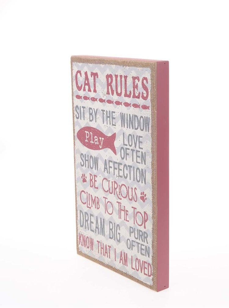 Drevená závesná ceduľa v ružovej farbe Sass & Belle Cat Rules
