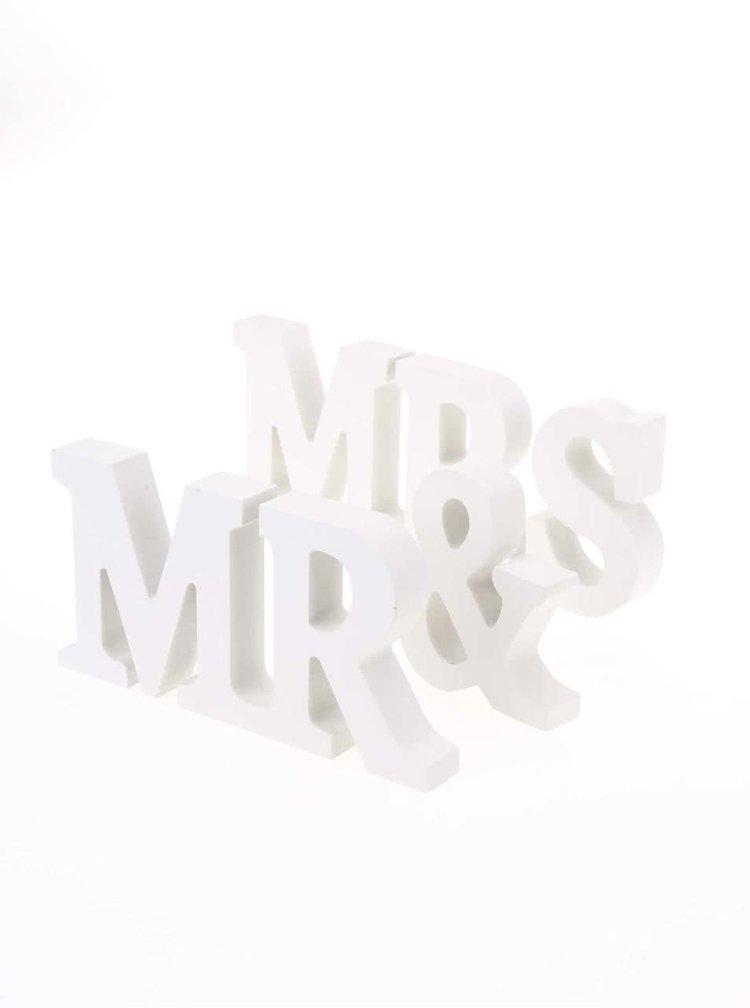 Decorațiune din lemn Mr. & Mrs. crem de la Sass & Belle