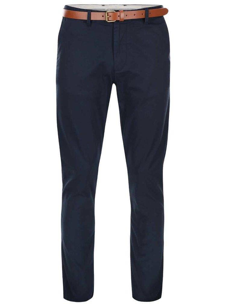 Tmavě modré slim fit kalhoty s páskem Selected Homme Yard