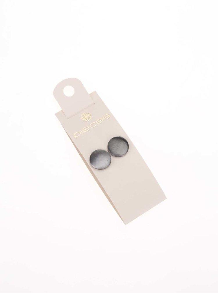 Guľaté náušnice v metalickej farbe Pieces Miebe