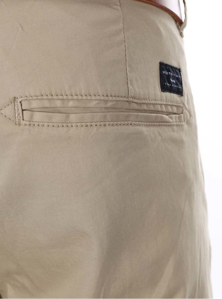 Pantaloni chino bej slim fit Selected Homme Yard cu o curea