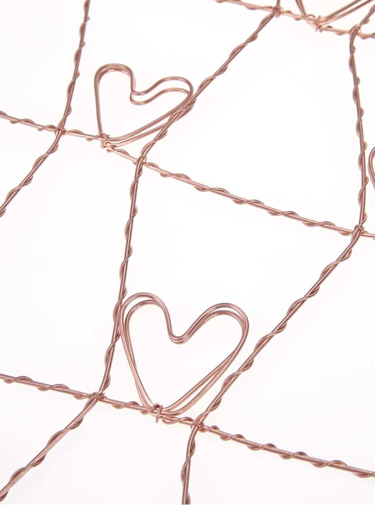 Drátěná dekorace ve tvaru srdce na fotky Sass & Belle Copper
