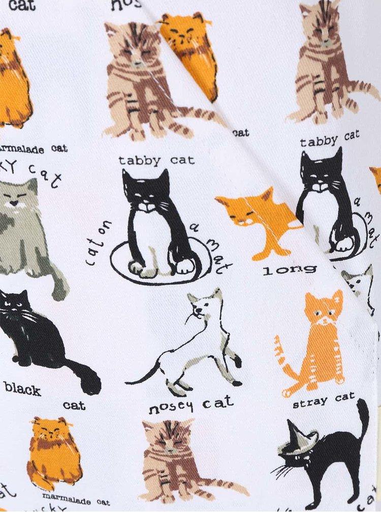 Krémová kuchyňská zástěra s kočičím motivem Cooksmart Cats