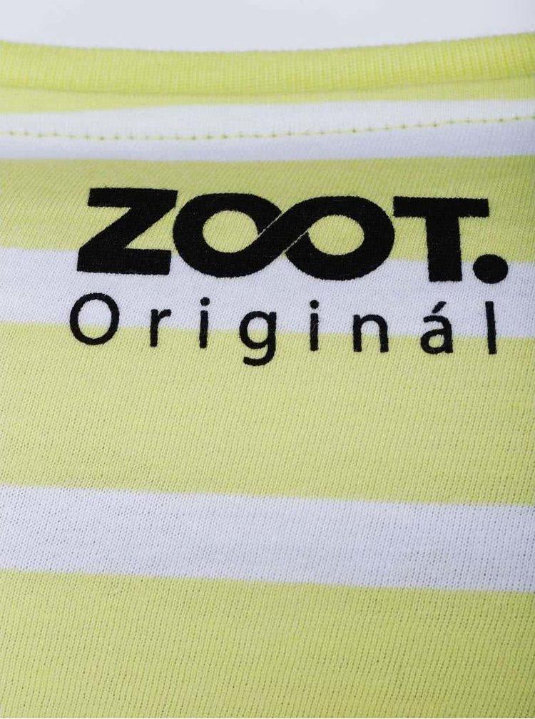 Bielo-žlté pruhované pánske tričko ZOOT Originál Lebka