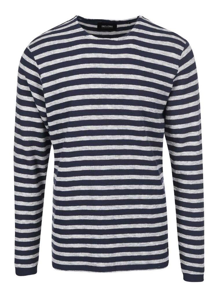 Sivo-modré pruhované tričko s dlhým rukávom ONLY & SONS Hadrian