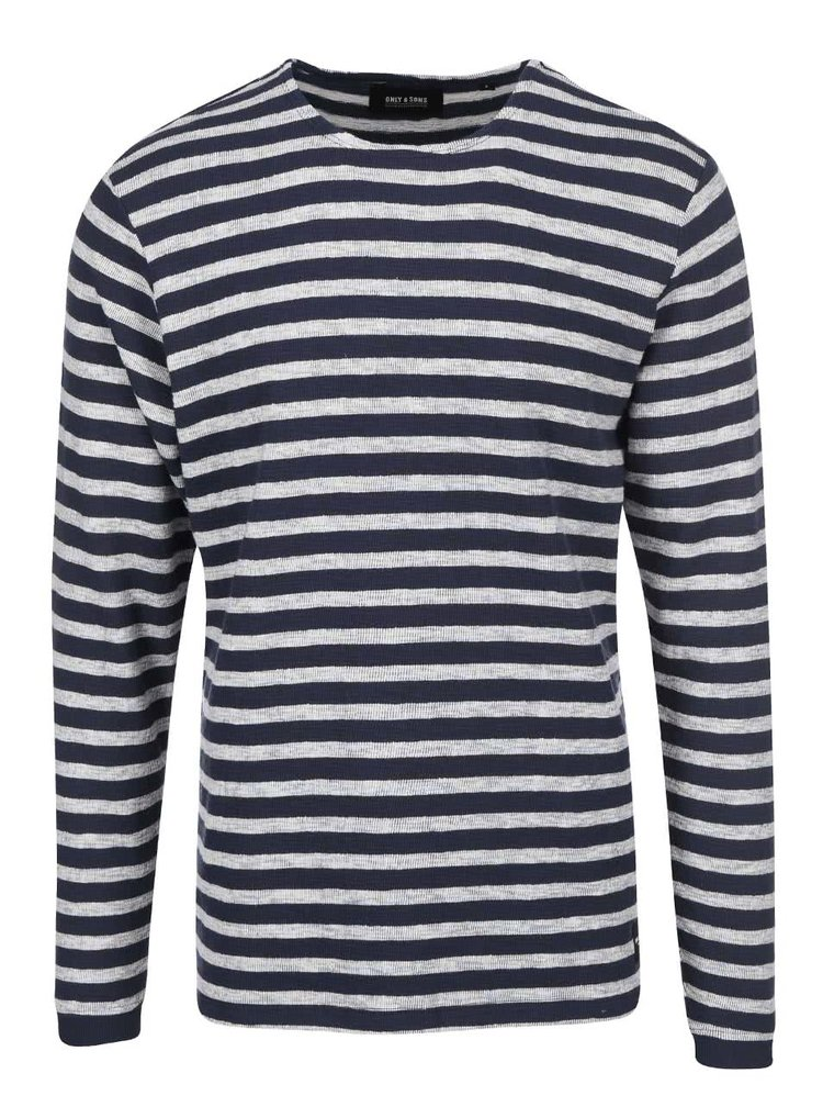 Šedo-modré pruhované triko s dlouhým rukávem ONLY & SONS Hadrian