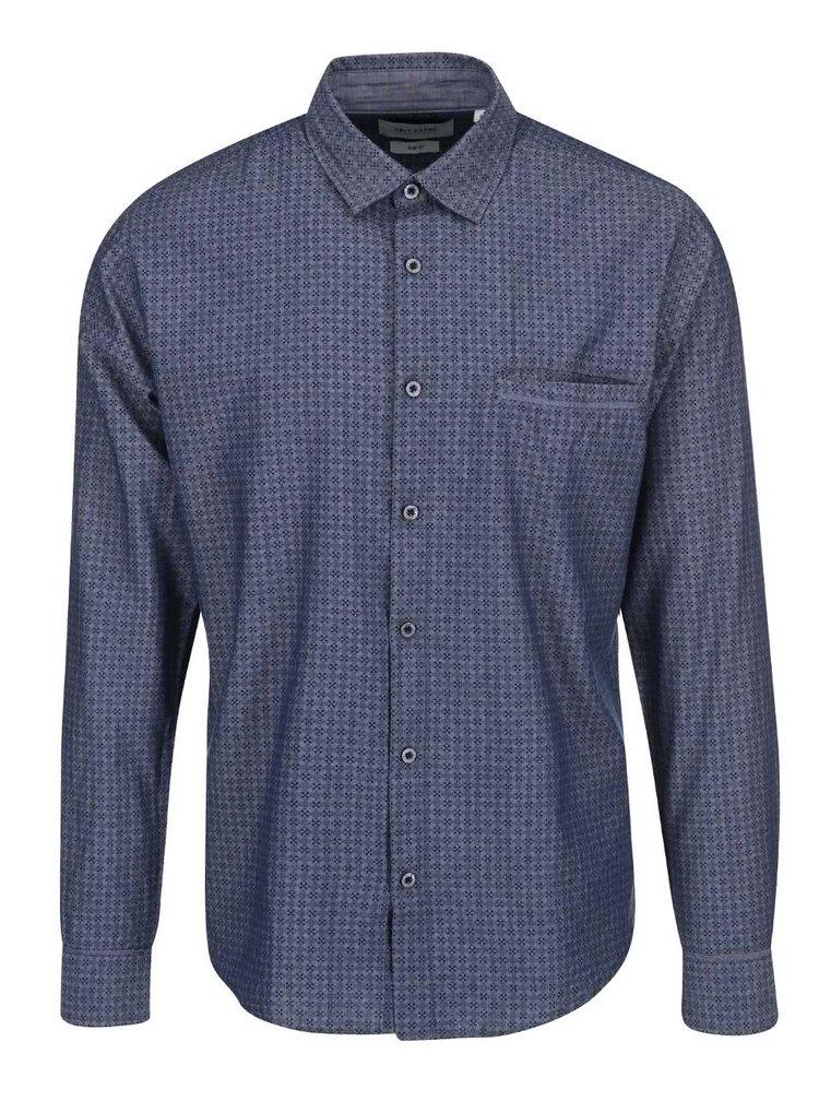 Sivo-modrá vzorovaná košeľa ONLY & SONS Ali