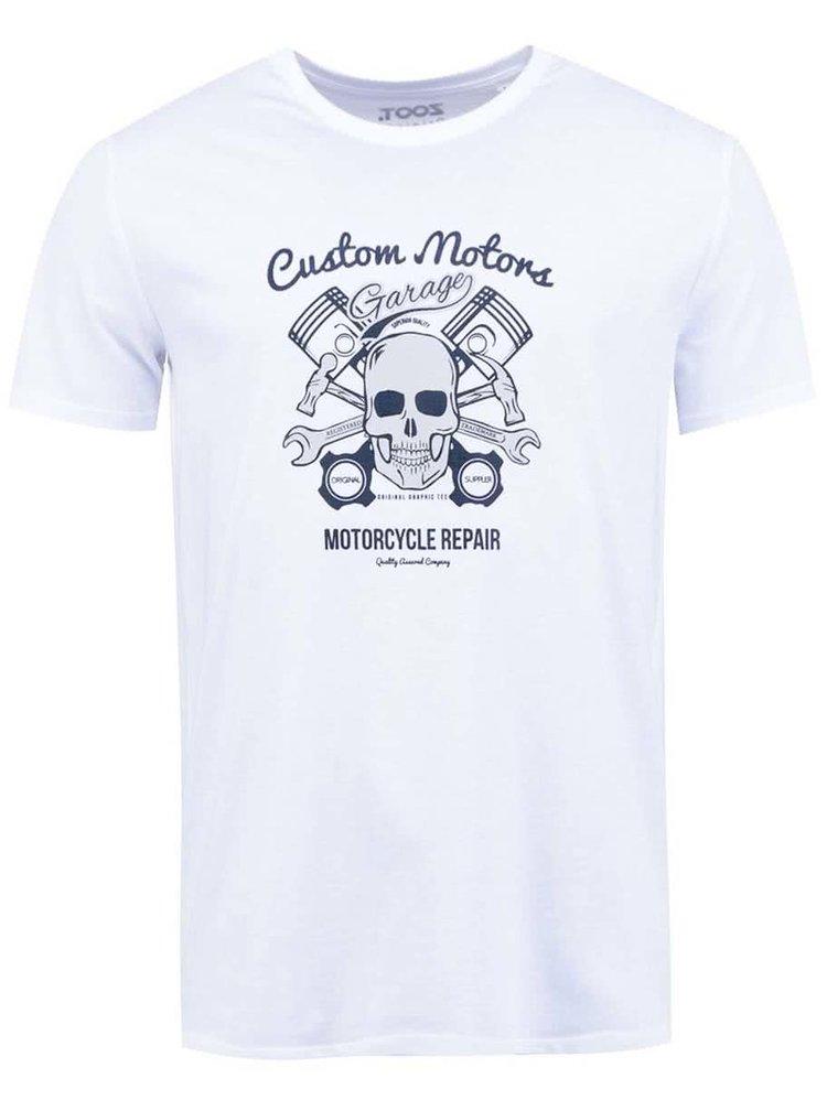 Biele pánske tričko ZOOT Originál Lebka a motorka