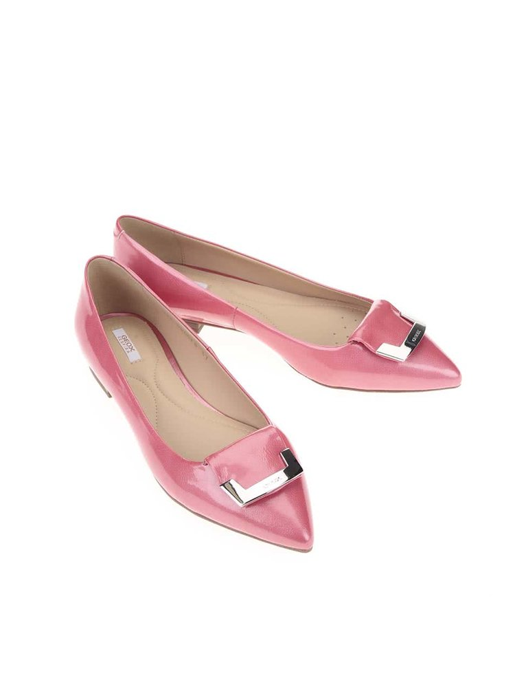 Růžové kožené lesklé baleríny Geox Rhosyn