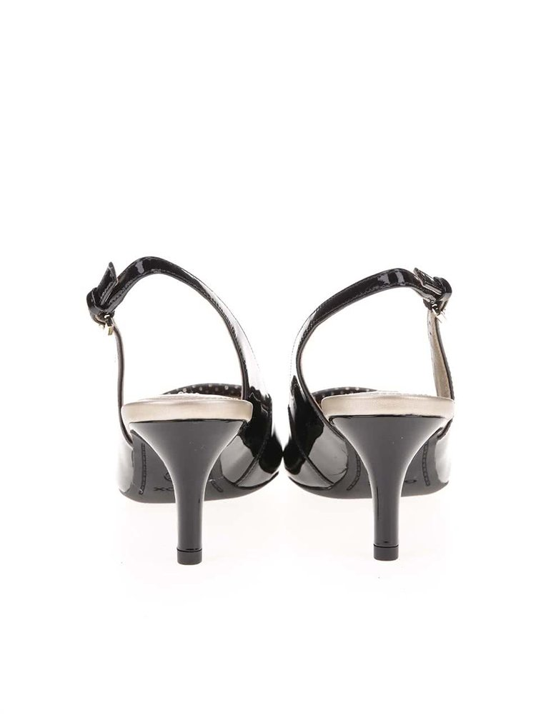 Čierne kožené sandáliky na podpätku Geox Elina