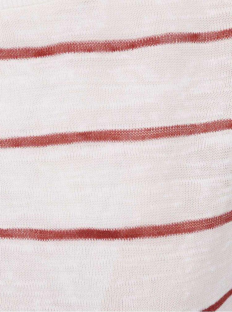 Červeno-krémový volný pruhovaný top ONLY Dina