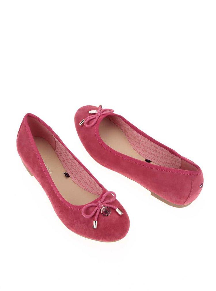 Ružové semišové balerínky Tommy Hilfiger