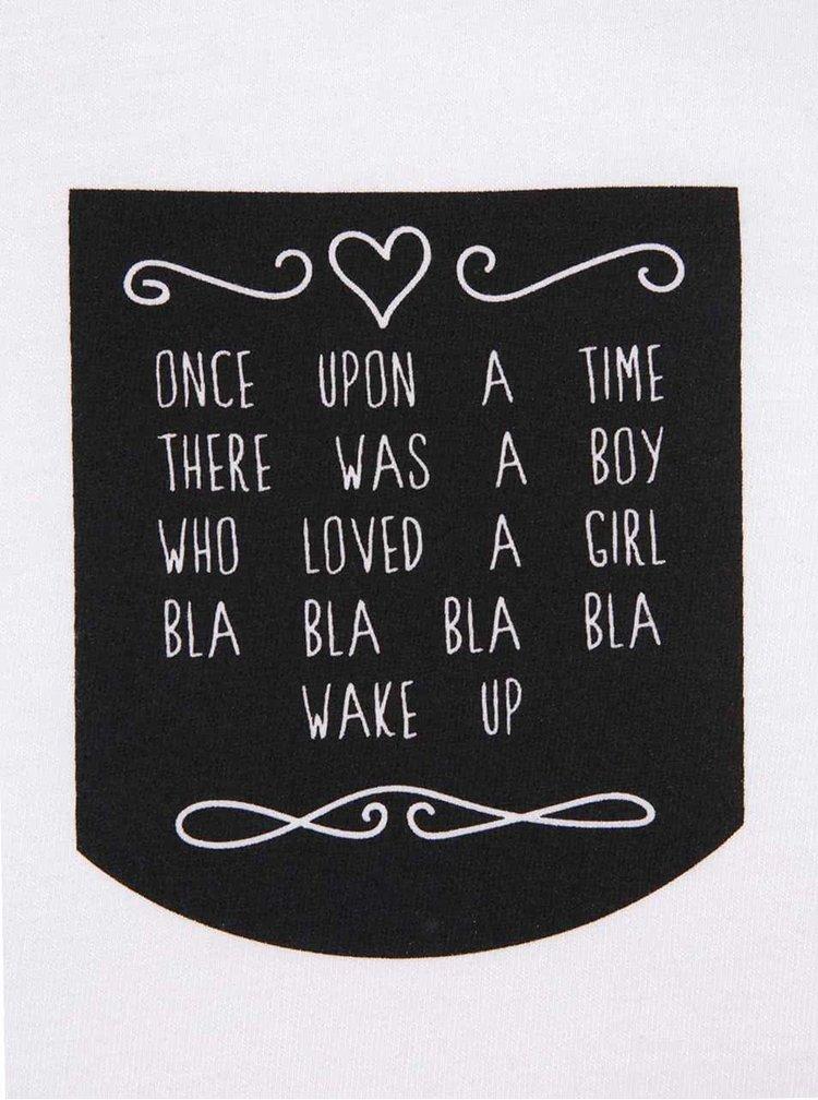 Čierno-biele dámske tričko s vreckom ZOOT Originál Lovestory