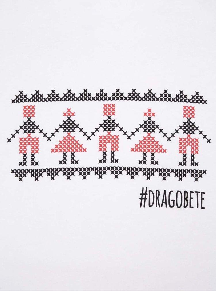 "Tricou ZOOT Original ""Hora de Dragobete"" pentru femei, alb"