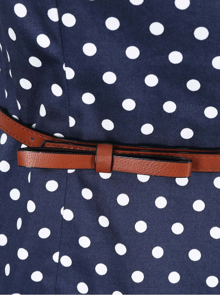 Modré puntíkované šaty s páskem VERO MODA Kaya