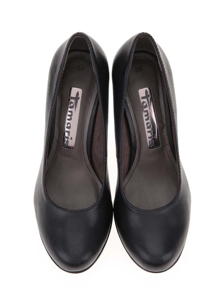 Pantofi cu toc negri mați Tamaris