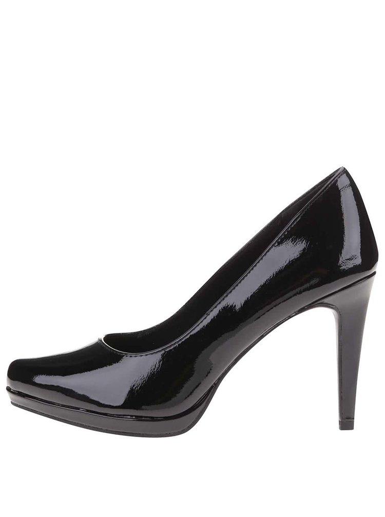 Pantofi cu toc luciosi Tamaris - negru