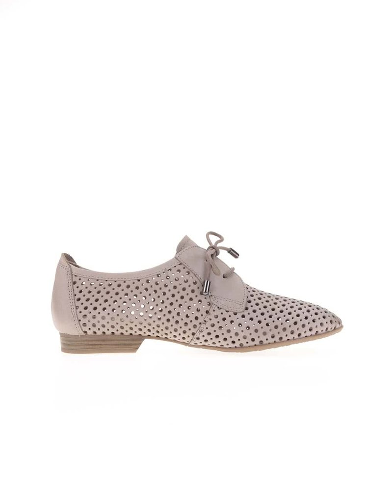Pantofi bej din piele perforați Tamaris