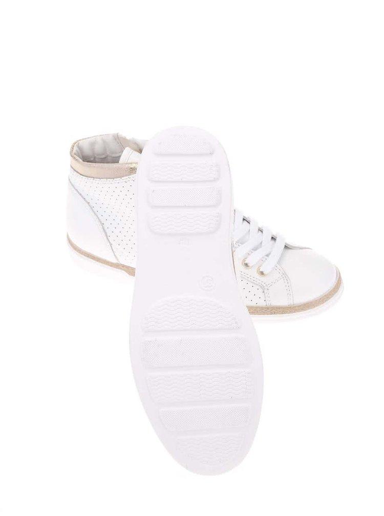 Krémové kožené tenisky so zipsom Tamaris