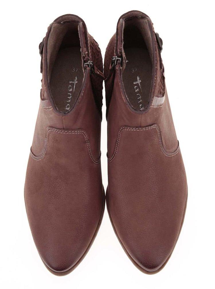Hnedé kožené členkové topánky Tamaris