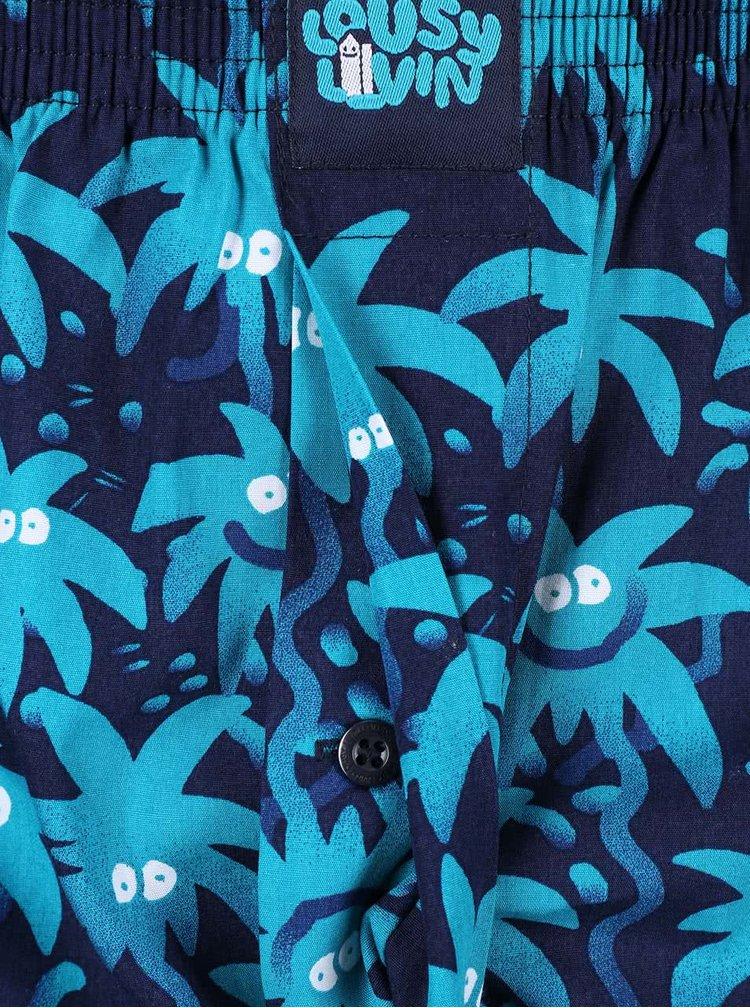 Boxeri albaștri cu palmieri Lousy Livin Zitrone
