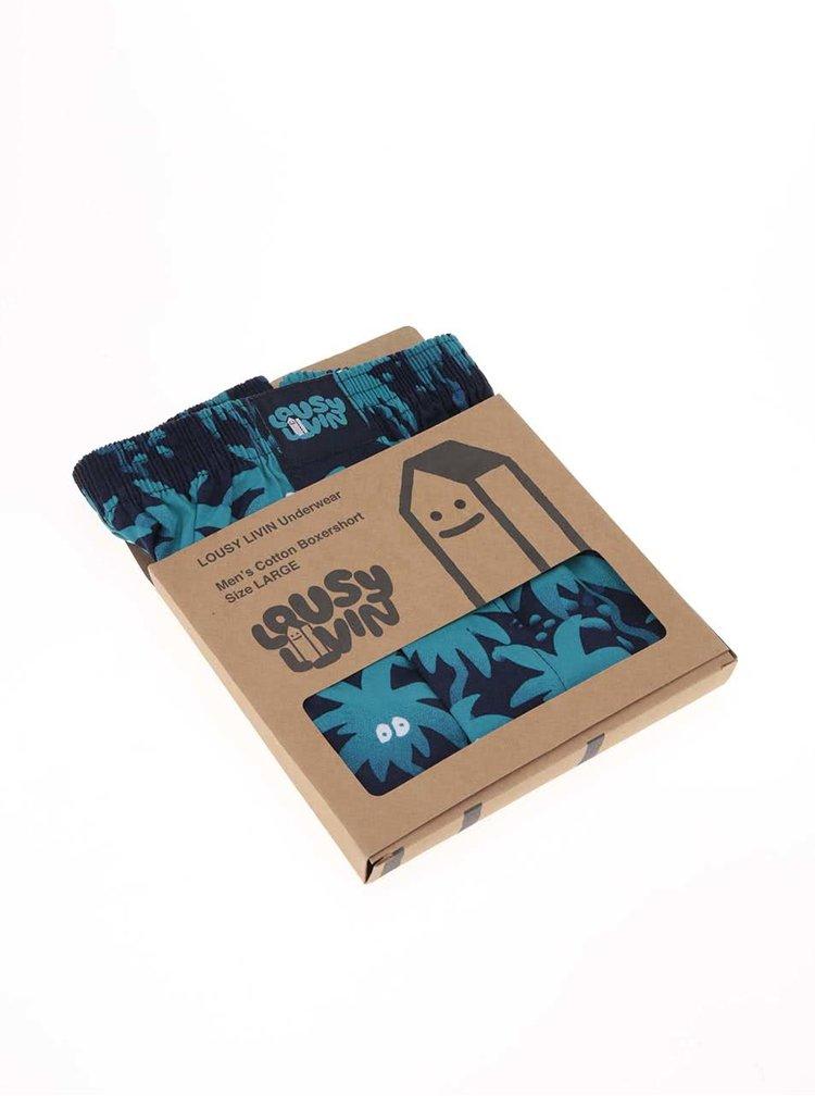 Modré trenýrky s potiskem palem Lousy Livin Palm