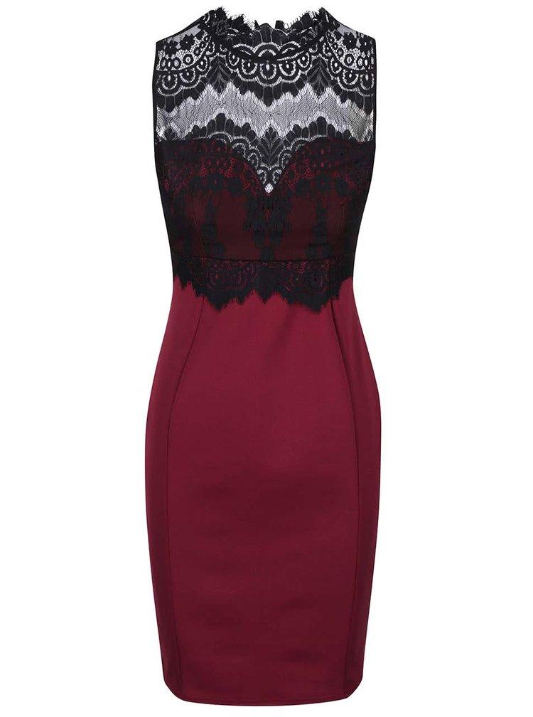 Vínové šaty s krajkovým topem ke krku Lipsy