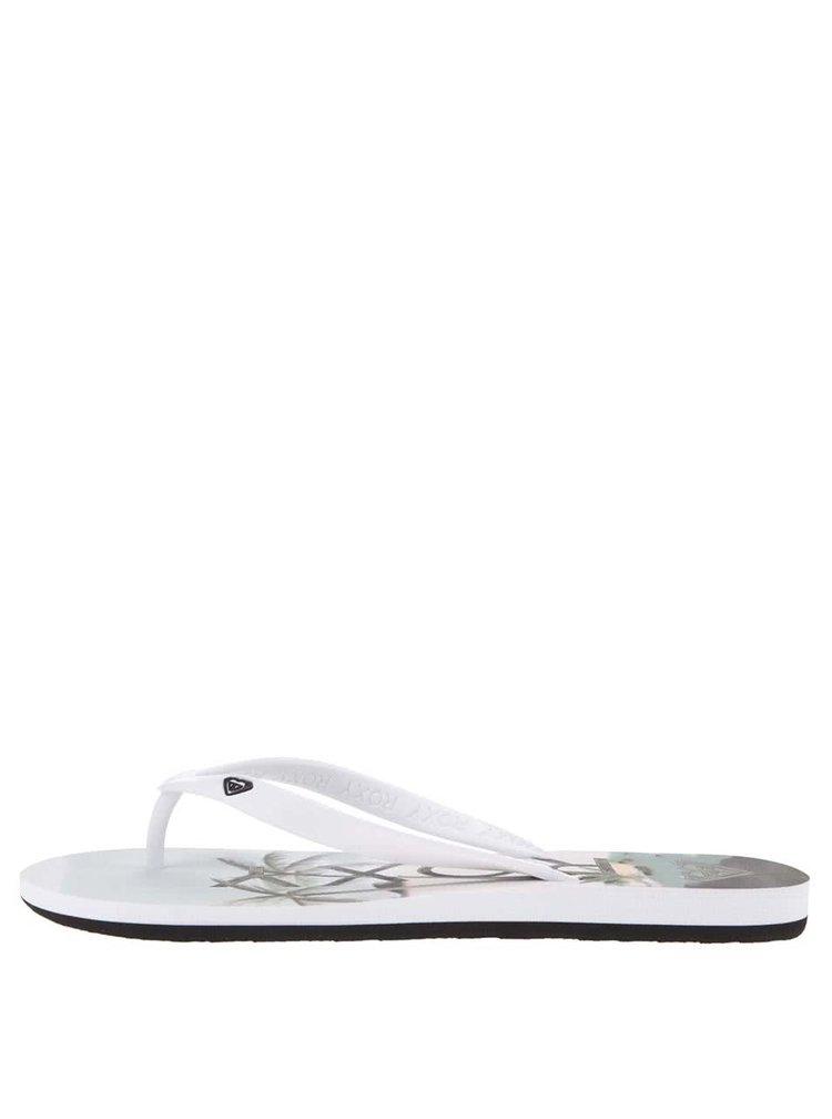 Papuci albi cu imprimeu tropical Roxy Tahiti V