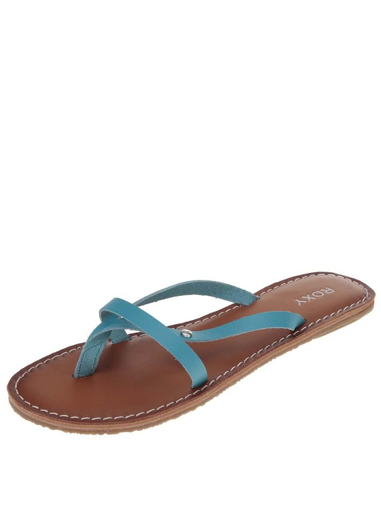 Papuci albastri din piele Roxy Nadia