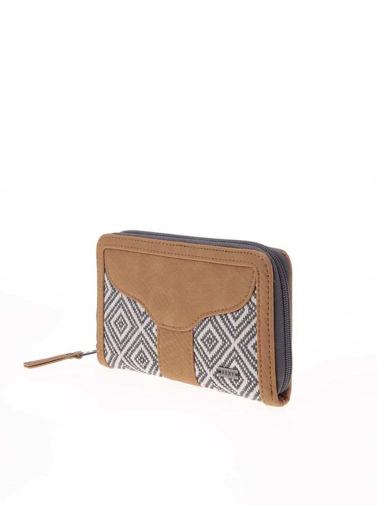 Šedo-bílá vzorovaná peněženka s hnědými detaily Roxy Stolen Dance