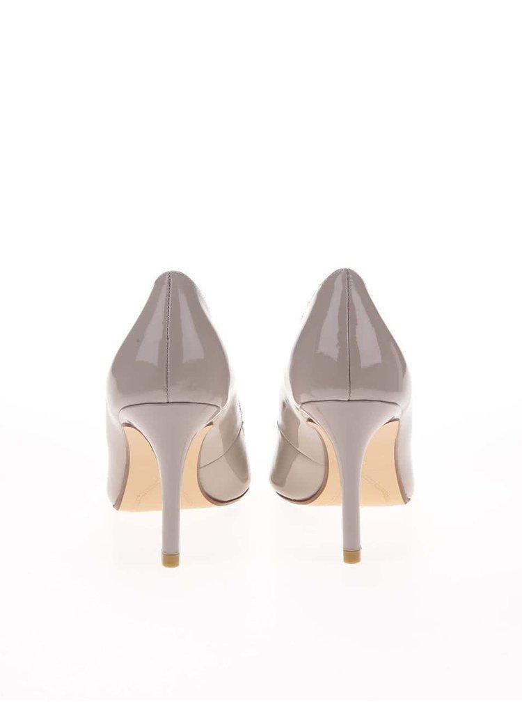 Pantofi cu toc bej-gri luciosi Dune Alessia