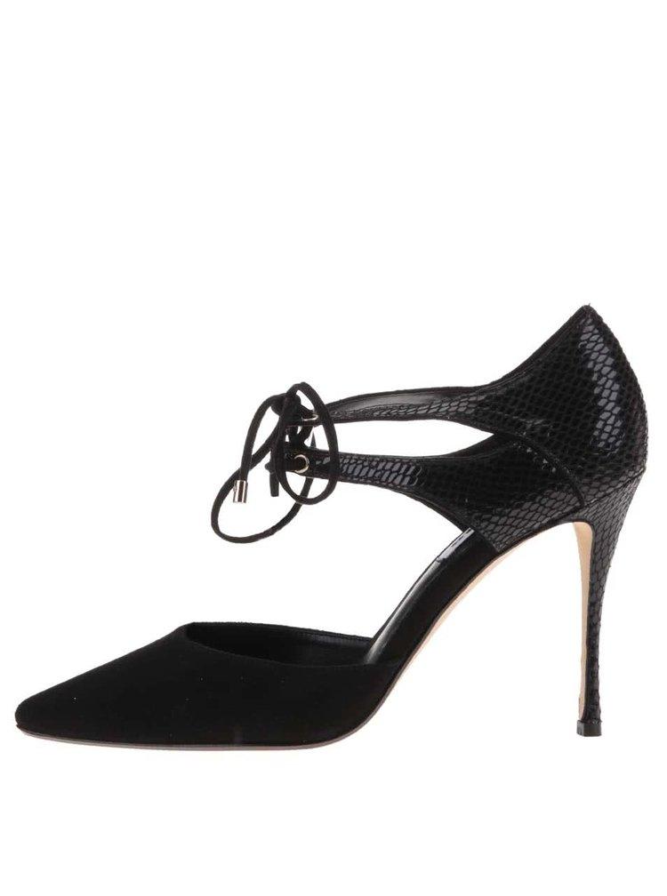 Čierne topánky na podpätku Dune London Charleen