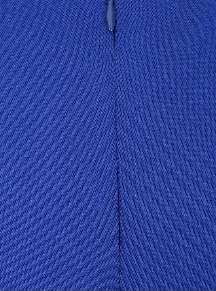 Modré pouzdrové šaty s řasením u výstřihu Goddiva