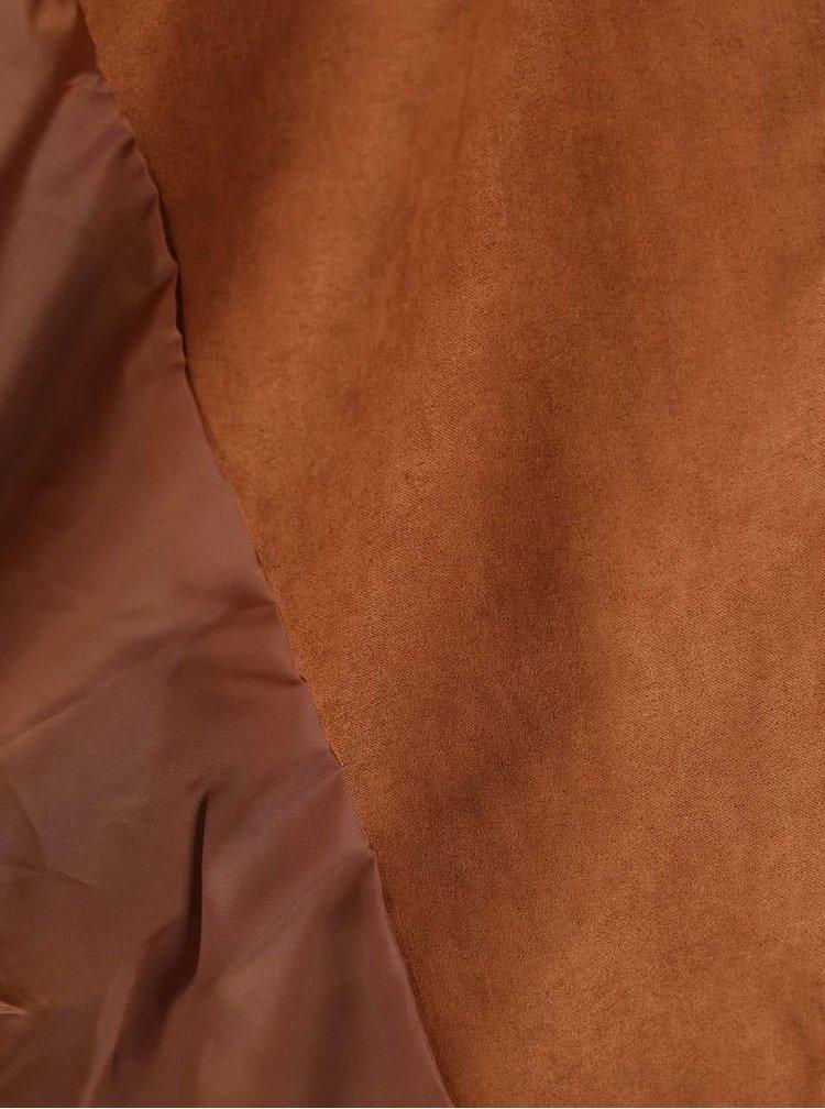 Hnědá kratší bunda v semišové úpravě Dorothy Perkins