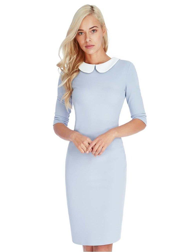 Světle modré šaty s bílým límečkem Goddiva
