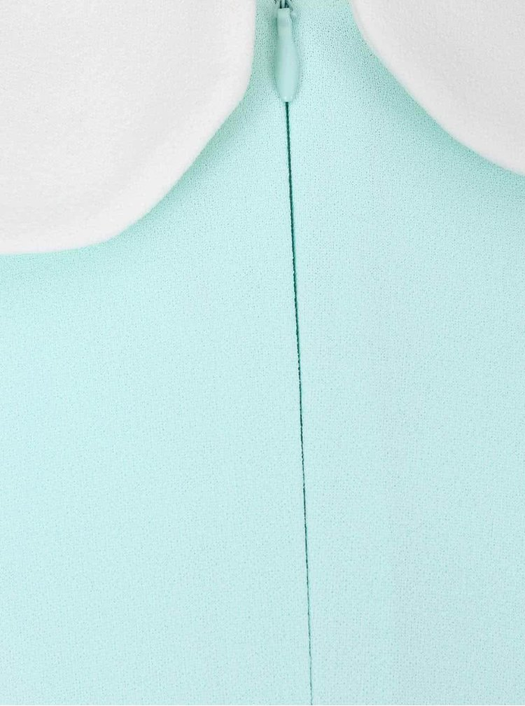 Mentolové šaty s bílým límečkem Goddiva