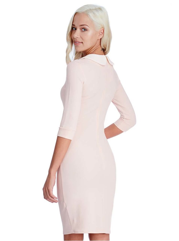 Pudrovo ružové šaty s bielym golierikom Goddiva