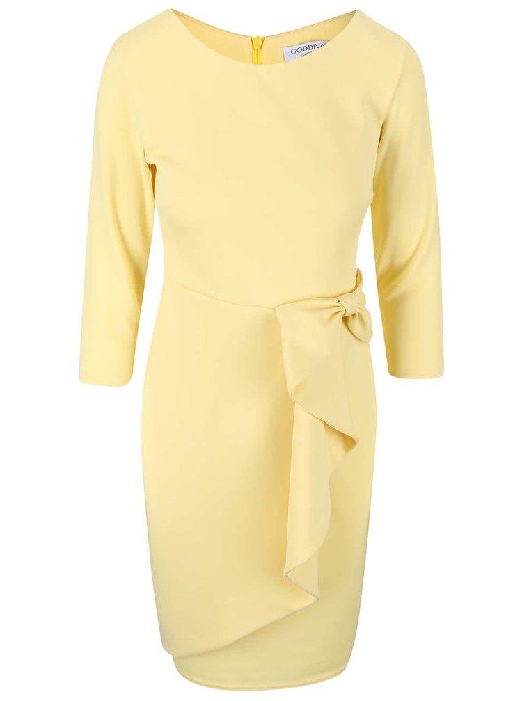 Rochie galben deschis cu fundă decorativă Goddiva