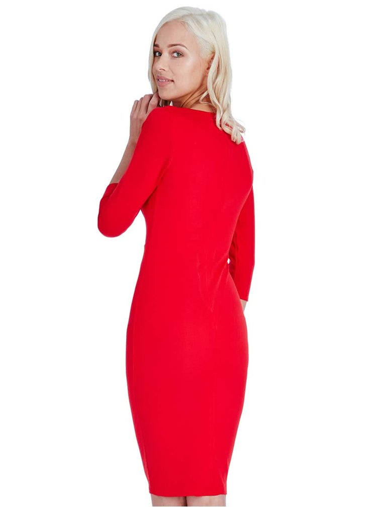 Červené šaty s vodou ve výstřihu Goddiva
