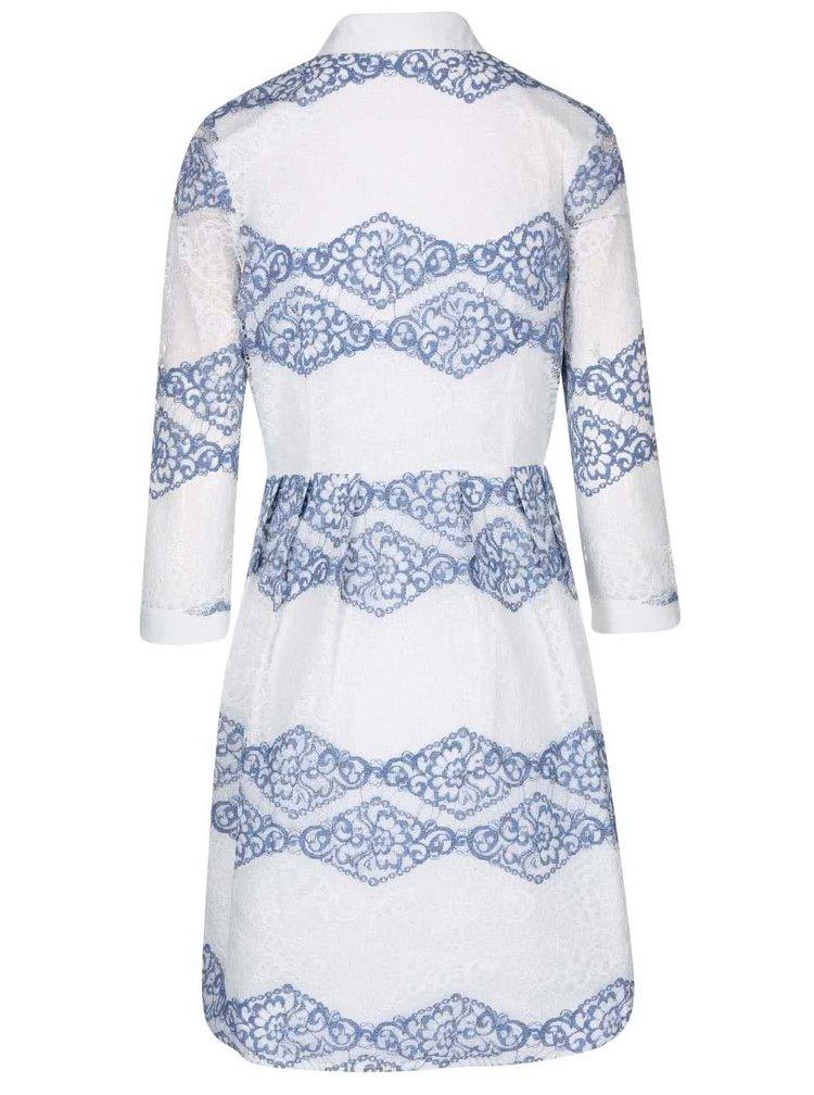 Rochie tip cămașă albastru cu crem Goddiva