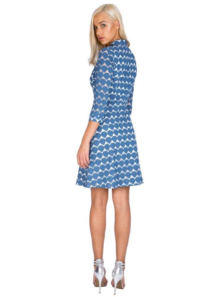 Modré vzorované šaty košilového typu Goddiva