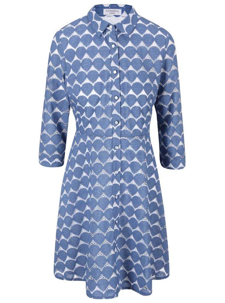 Modré vzorované šaty košeľového typu Goddiva