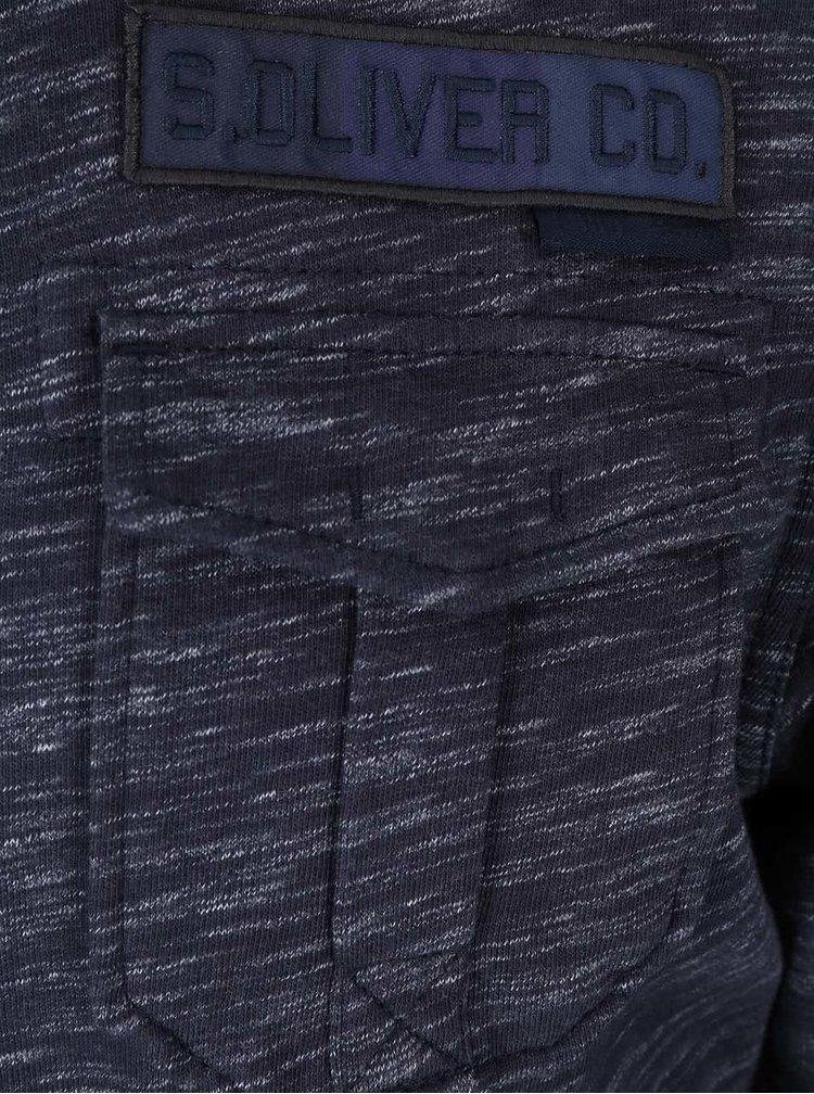 Modrá pánska melírovaná mikina na zips s.Oliver