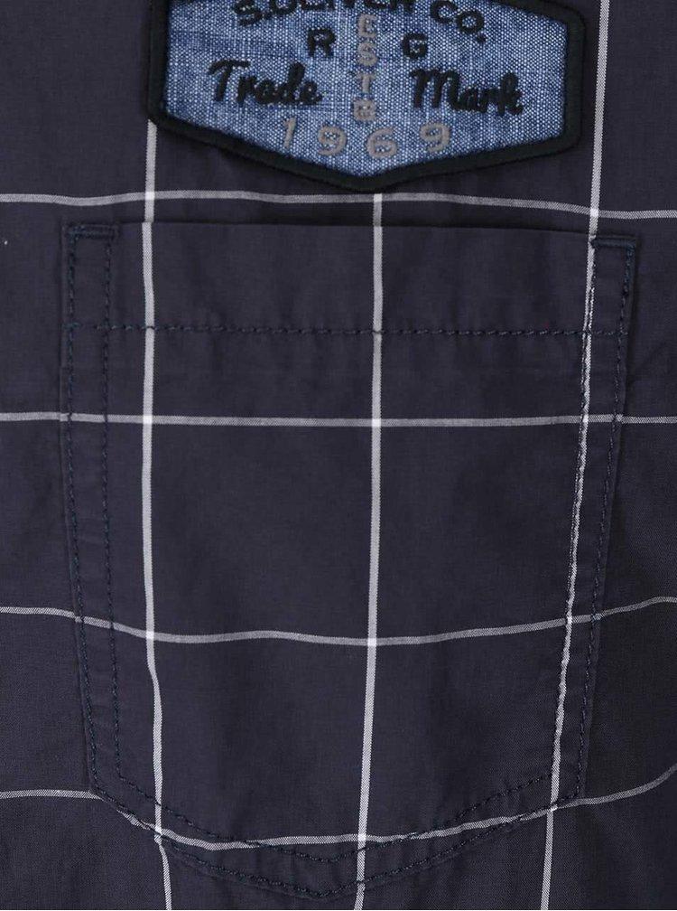 Cămașă bărbătească bleumarin cadrilată cu mânecă 3/4 s.Oliver