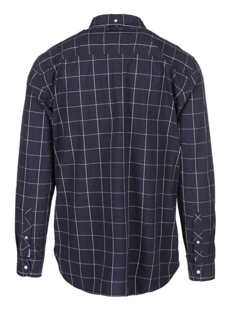 Tmavomodrá pánska kockovaná košeľa s 3/4 rukávom s.Oliver