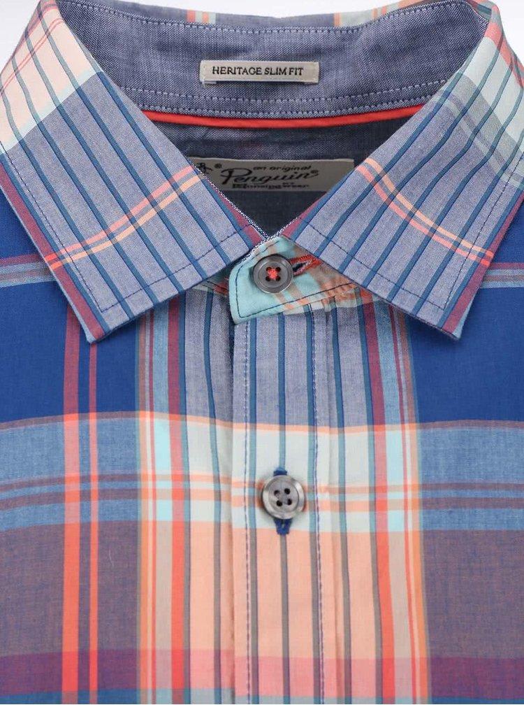 Modrá károvaná košeľa Original Penguin Kakto